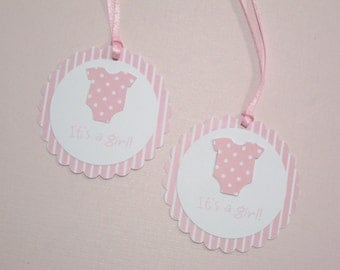 10 Baby Shower Tags for Favors - Pink Onesie Baby Shower Tags- It's a Girl Tags - Gift Tags - Baby Tags - Baby Shower Favors -Baby Girl Tags