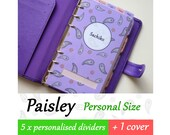 SIZE: PERSONAL (Special Set / Top Tabs / Side Tabs) Paisley Personalised Dividers for Filofax Organizer Planner Agenda