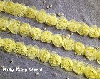 Chiffon Lace Trim -2 Yards Light  Yellow Chiffon Rose Lace Trim (C87)