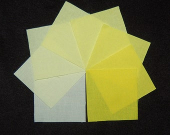 2-1/2 Inch Precut Quilt Squares, BRIGHT YELLOW, 120 Hand Dyed Squares, 8 Gradations