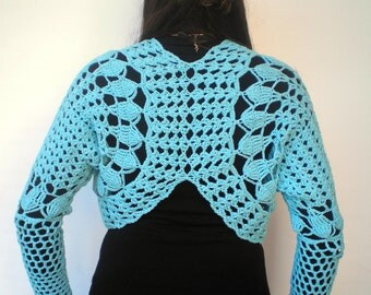 Clear Blue  Butterfly  Shrug Bolero Hand Crocheted  Mixed  Cotton Woman Shoulder Wrap Shrug  NEW