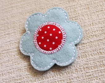 Baby blue Pink with red pin dot fabric center Snap hair clip 100% Wool Felt