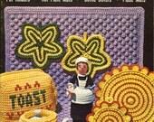 NEW YEAR SALE vintage crochet pattern book - 1960s kitchen crochet - printable Pdf