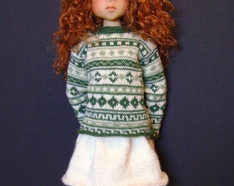 153. French and english knitting pattern PDF - Sweater, skirt, hat and long socks for Layla, MSD Kaye Wiggs doll