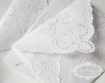 SALE: Lace Envelopes - Shabby Chic Vintage Paper Doily Envelopes - set of 20 (seen in Weddingbells Magazine)