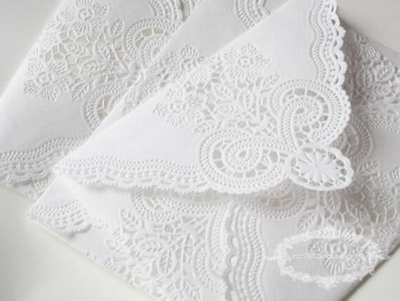 SALE: Lace Envelopes - Shabby Chic Vintage Paper Doily Envelopes - set of 20 (seen in Weddingbells Magazine)