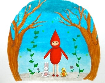 Illustration Red Gnome and Forest Friends