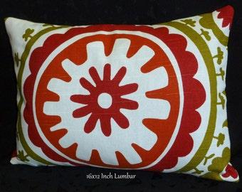 Lumbar Pillow, Decorative Pillow, Pillow Cover, Throw Pillow - Rust, Green and White - 12x16 Lumbar
