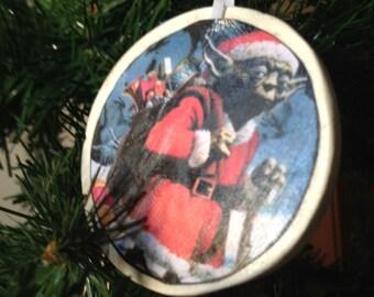 Santa Yoda Ornament