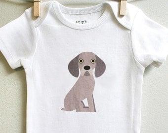 Weimaraner baby clothes, weimaraner baby, weimaraner baby bodysuit sizes 3 months - 18 months