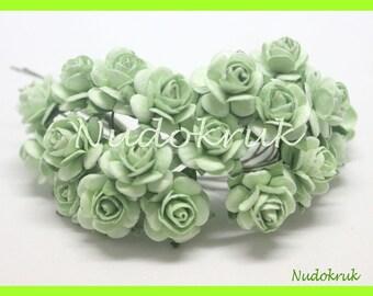 100 light green  Mulberry Paper Rose Flower handmade size 1 cm. ,scrapbooking card , wedding