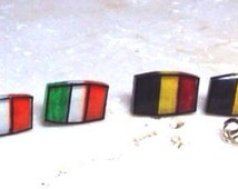 Show your pride! Belgium or Ireland Flag earrings, Illustrated and Hand-Made Stud Earrings