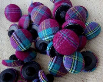 Set of 8 Vintage Fabric Covered Buttons Maroon Plaid Buttons Teal Buttons Tartan Plaid Coat Buttons Button Lot Vintage Sewing Supplies 110