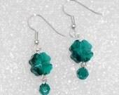 Shamrock, Four Leaf Clover Swarvski Earrings with Crystal Beads, Stainless Steel Earrings