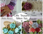 Crochet PDF Pattern Discount Pack #9 - 4 PDF Patterns,crochet bracelet necklace, crochet flower, crochet roses, bohemian pattern, boho chic