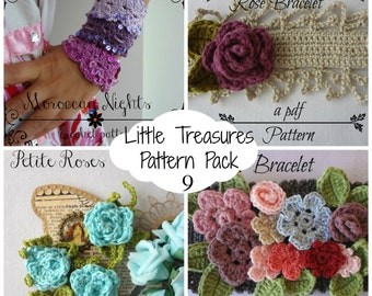 Crochet PDF Pattern Discount Pack #9 - 4 PDF Patterns,crochet bracelet necklace, crochet flower, crochet roses, bohemian pattern, boho chic