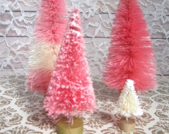 Bottle Brush Christmas Trees table decor Pastel Pink cream blush Berries and Cream Set of 4 Valentines Day