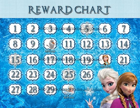 personalized disney princess frozen reward chart custom