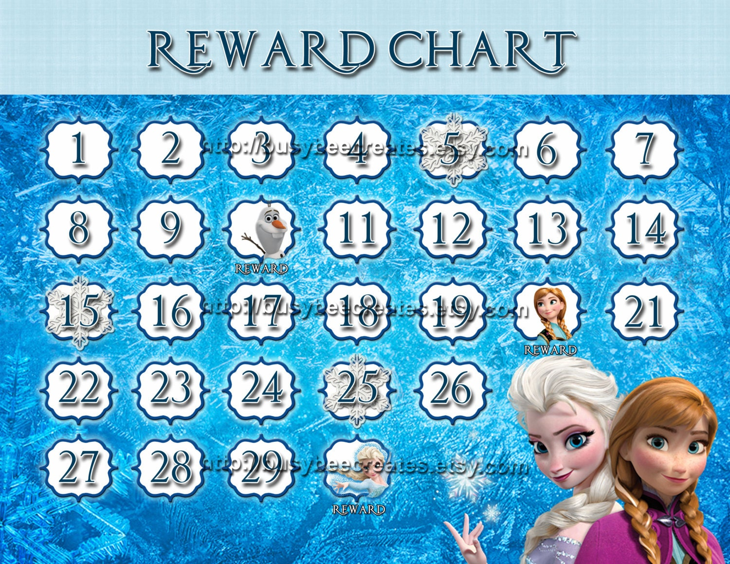 Personalized Disney Princess Frozen Reward Chart Custom – Free Reward Charts to Download