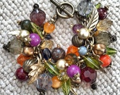 Handmade Beaded Cha Cha Bracelet Fabulous Fall Colors Upcycled Recycled One of a Kind!
