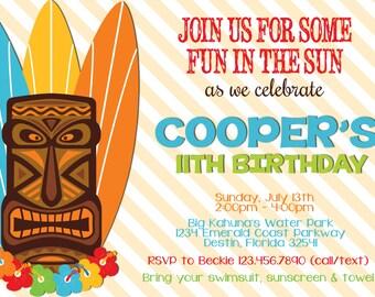 TIKI SUMMER Birthday Party 5x7 Invitation- PRINTABLE
