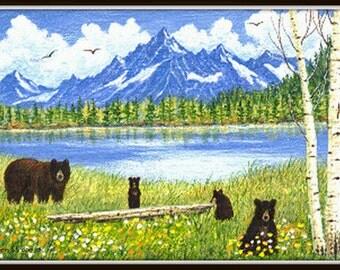 NOTE CARD, Bears, Black bears, Mountains, Aspen trees, Flowers, Bear decor, Animal decor, Wimsical