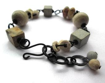 Black Chain Bracelet, Beaded Bracelet, Earthy, Rustic Bracelet, Boho Bracelet, Adjustable Bracelet