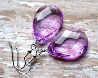 Purple Faceted Teardrops . Earrings . Bella Collection