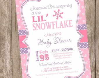 Perfect Snowflake Baby Shower Invitation, Winter Baby Shower Invitation,holiday Baby  Shower, Snowflakes,