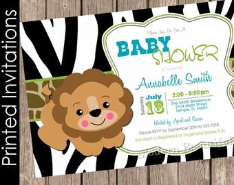 Printed Lion baby shower invitation, zebra baby shower invitation, jungle, safari, lion, typography (FREE ENVELOPES)