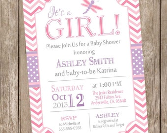 Dragonfly baby shower invitation, pink and purple baby shower invitation, chevron invitation, typography invitation, printable df1