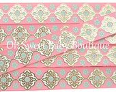 "7/8"" Light Coral and Mint Gold Foil Damask"