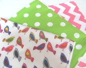 Baby Girl Burp Cloths- Set of 3- Birds, Hot Pink and White Chevron, Green Polka Dots-  with White Chenille