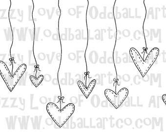 Digi Stamp Digital Instant Download Kawaii Hearts IMG No. 26 by Lizzy Love