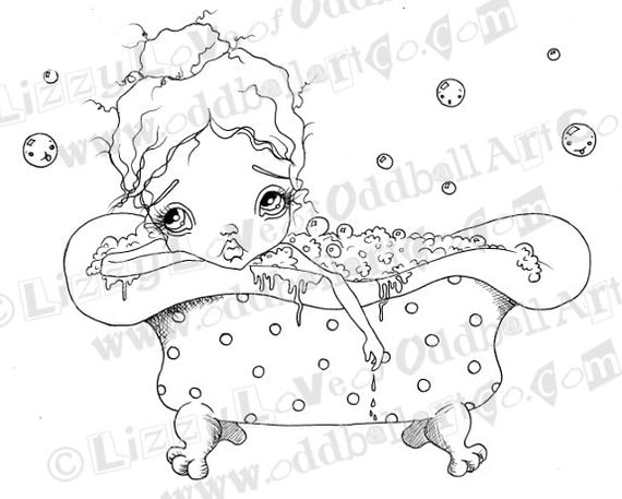 INSTANT DOWNLOAD Digi Stamp Big Eye Girl Bathes In Polka Dot Tub  ~ Lazy Louise & Bathtime Bubble Friends Image No. 121 by Lizzy Love