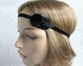 Black Gatsby Headband, 1920s Hair Accessories, Black Flapper Style Beaded Headband