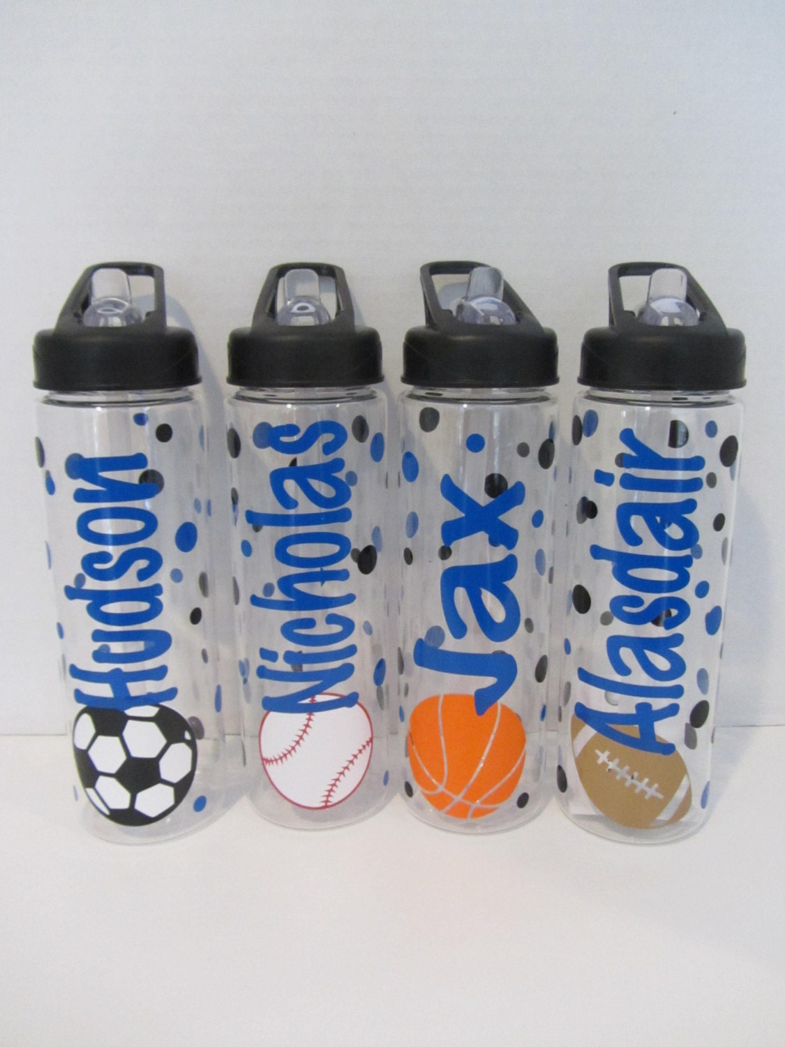 6 personalized water bottles soccer volleyball by
