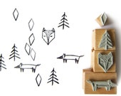4 rubber stamps - FOX FOREST