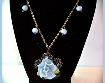 Denim Blue Rose Polymer Clay Necklace 20 in. Flower Pendant Antique Gold Filigree Handcrafted Flower Necklace Denim Blue Rose