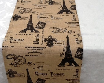 Burlap Table Runner, Paris, Eiffel Tower, French Theme, Home Décor, Wedding, Party, Custom Sizes Available