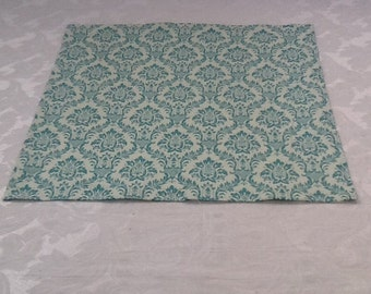Table Square, Aqua and White Damask, 18 inch Square, Ready to SHIP, Wedding, Shower, Party, Home Decor