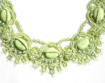 Spring Green Turquoise Tatting Lace Beaded Fiber Necklace
