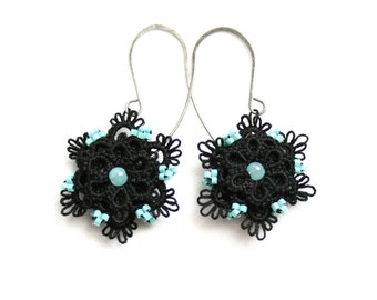Black Turquoise Beaded Flower Dangle Style Drop Tatting Lace Earrings