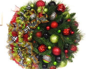 "Christmas Wreath  Black Red Lime Green White  Double Pine Wreath (Extra Large Approx 27"") Shatterproof Ornaments In/Outdoor"