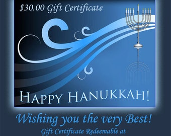 Happy Hanukkha 30 Dollar Gift Certificate for someone special in your life