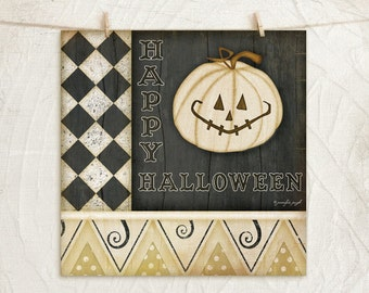Happy Halloween Pumpkin 12x12 Art Print - Halloween or Fall Decor - Pumpkin -Black, White, Tan, Cream, Gold