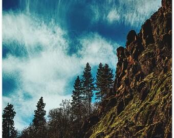 Landscape photography, turquoise sky, rock wall, fine art print
