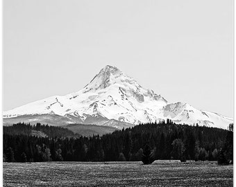Mt Hood photography, oregon, mountain photography,black and white photo, fine art print