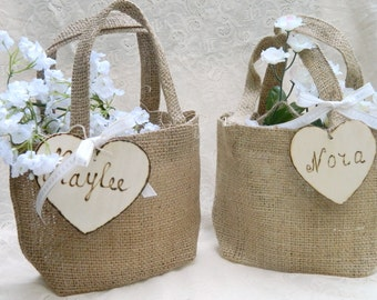Burlap Flower Girl Small Basket Personalized Wooden Heart , Rustic, Shabby Chic bridesmaid favor bag