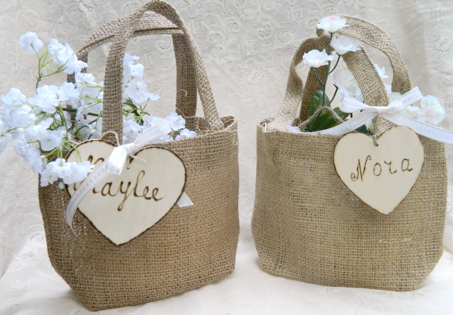 Flower Girl Baskets Small : Burlap flower girl small basket personalized wooden by